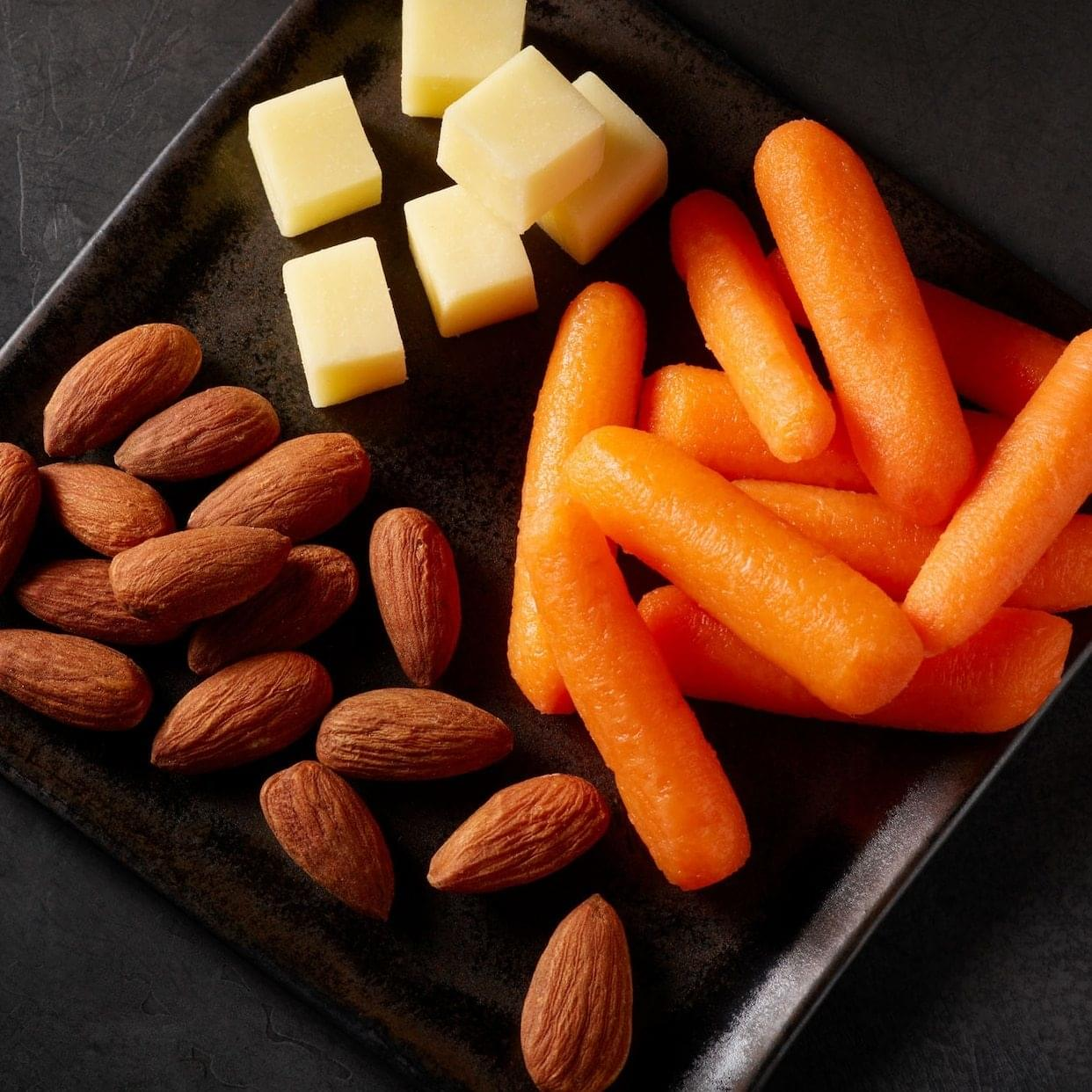 Starbucks Prosnax Carrots, White Cheddar Cheese, and Almonds Snack Tray Nutrition Facts